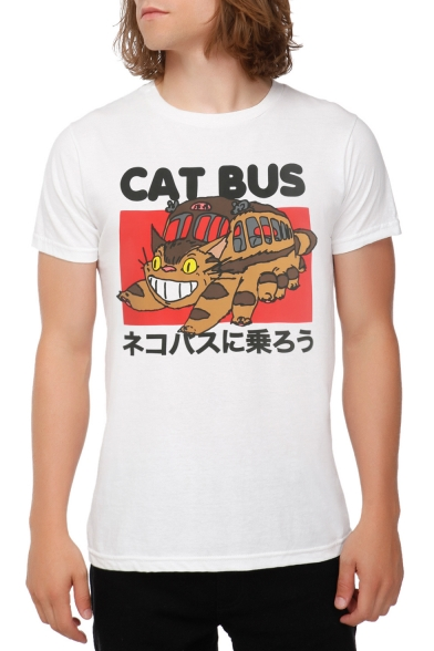 Cat Short BUS Printed Round CAT Sleeve Tee Neck Japanese Letter Rnp0E4x