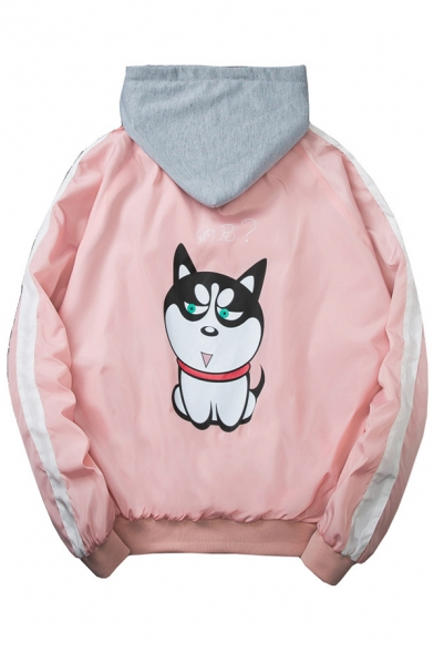 Chinese Dog Printed Contrast Striped Long Sleeve Zip Up Hooded Coat