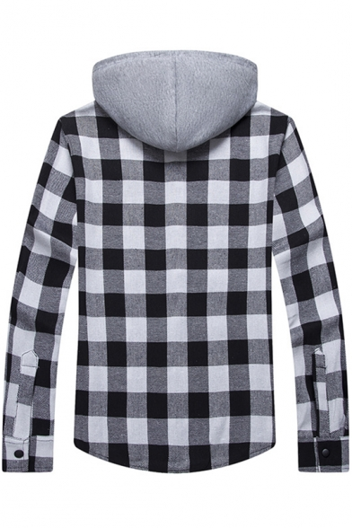 Color Block Hood Plaid Printed Long Sleeve Buttons Down Hooded Coat