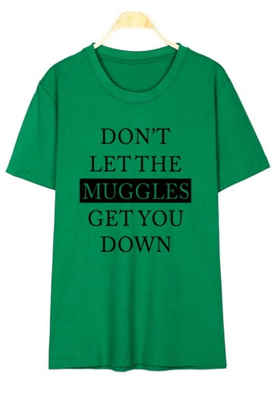 Short Printed LET DON'T Graphic Tee THE Letter MUGGLES Neck Round Sleeve cr0I1qIwF