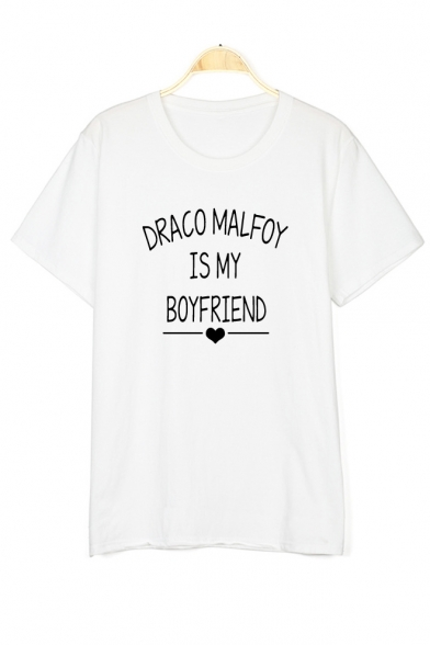 Letter MALFOY Sleeve Short DRACO Printed Tee Round Neck a5Adqz