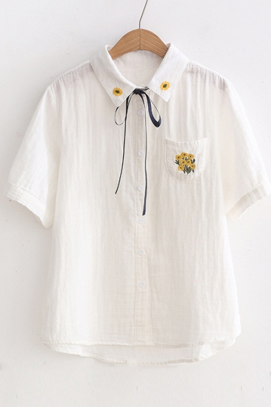 Bow Down Sleeve Embroidered Buttons with Collar Shirt Short Floral Lapel wpxfzqzO