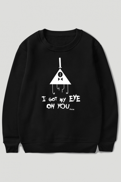 Triangle Sweatshirt EYE ON Letter Printed Neck Long GOT Sleeve MY I Round YOU E7TqS7Yn