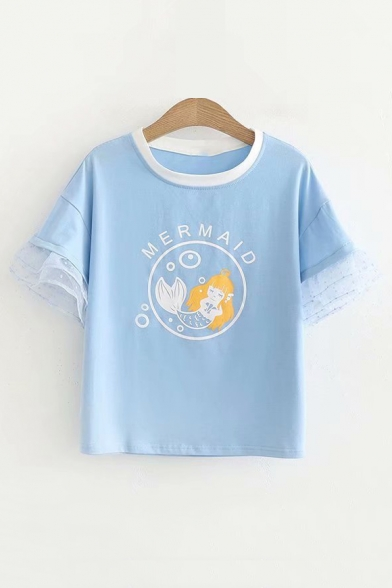 Mesh Sleeve Inert Tee Short Printed Round Neck Letter Mermaid rwrqdIPxR
