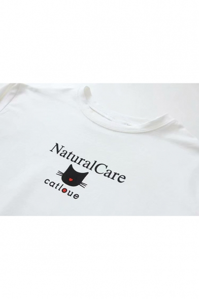 Neck Short Letter Printed NATURAL Tee Sleeve Cat Round CARE XwTHFS
