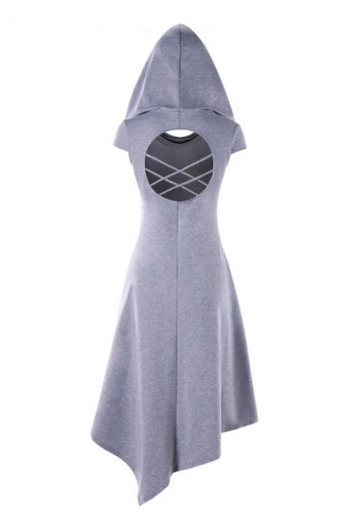 Plain Hollow Out Back Short Sleeve Midi Asymmetric Hooded Dress