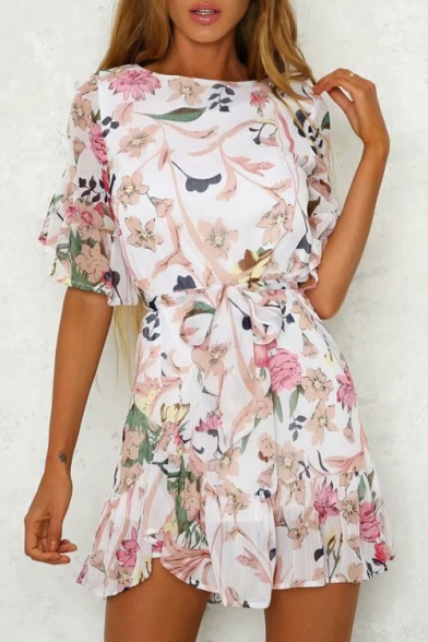 Dress Neck Mini Round Half A Sleeve Printed Floral Line OwSq8U1
