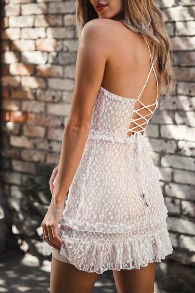 Back Lace Spaghetti Cami Dress Up Mini Lace Insert Sleeveless Straps YEwqEgO