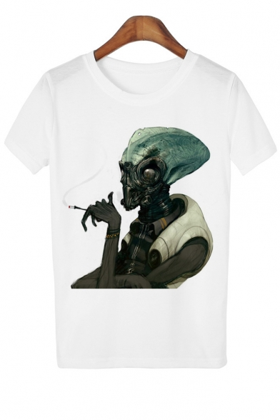 3D Smoking Alien Printed Round Neck Short Sleeve Tee