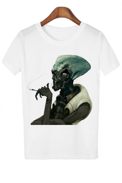 3D Neck Printed Sleeve Round Alien Tee Short Smoking Uwq1B
