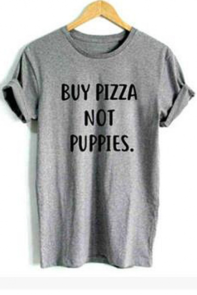 PIZZA BUY Tee Neck Round Letter Sleeve Short Printed AxqHa