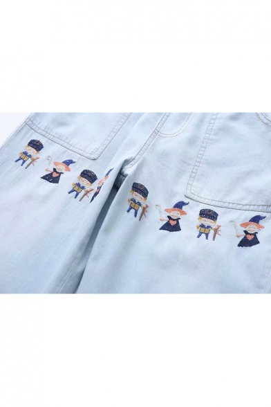 Cartoon Soldier Embroidered Drawstring Waist Straight Jeans