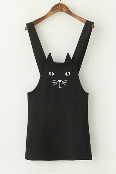 Cat Embroidered Straps Sleeveless Mini Overall Dress