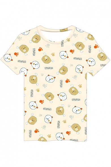 FRIENDS Letter Bear Printed Round Neck Short Sleeve Tee