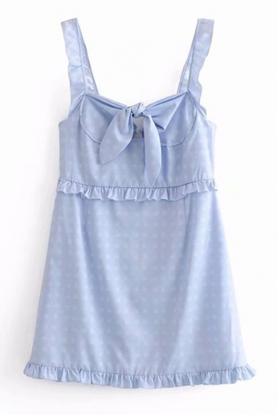 Heart Printed Tied Front Straps Sleeveless Mini Cami Dress
