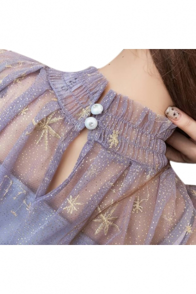 Two Pieces High Neck Star Embroidered Mesh Long Sleeve Maxi A-Line Dress