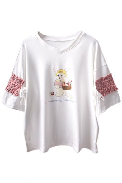 V Short LOVELY Sleeve Rabbit Neck PLAYMATES Tee YOUR Printed Letter qXdWOwW0x1