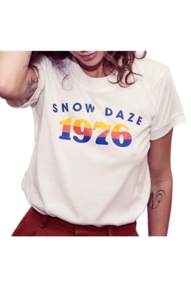 Image of 1976 Number Letter Printed Round Neck Short Sleeve Tee