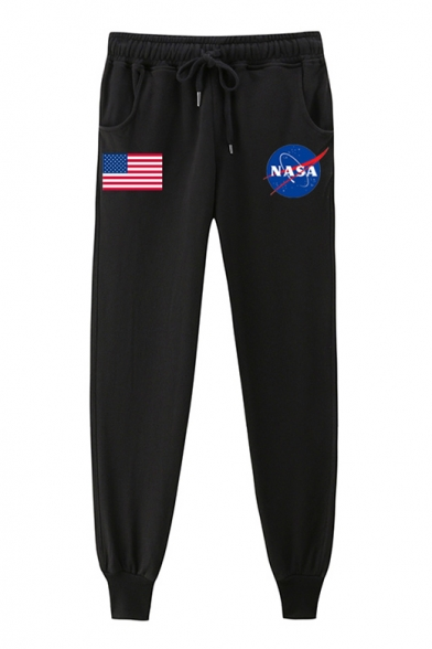 American Flag NASA Letter Printed Drawstring Waist Loose Pants