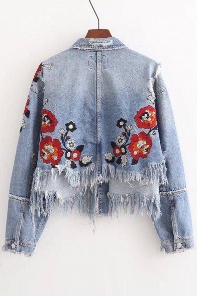 Chic Floral Embroidered Lapel Collar Buttons Down Long Sleeve Fringe Hem Crop Denim Jacket