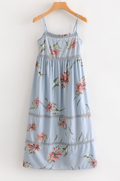 Chic Floral Printed Lace Insert Spaghetti Straps Sleeveless Maxi Cami Dress