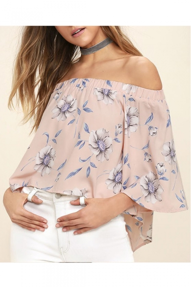 Shoulder Floral Off Length Chic Printed Sleeve 4 The 3 Blouse pqZ6Efnv6