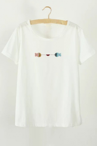 Sleeve Short Tee Embroidered Fish Neck Round nRx7ZwfWI