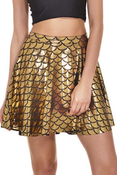 Fish Scales Printed High Waist Mini A-Line Skirt