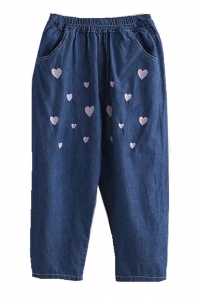 Heart Embroidered Elastic Waist Loose Straight Jeans