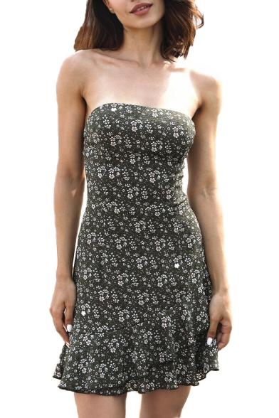 Hollow Out Back Floral Printed Ruffle Hem Strapless Mini Asymmetric Tube Dress