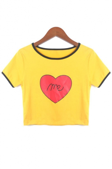 ME Letter Heart Printed Contrast Trim Round Neck Short Sleeve Crop Tee