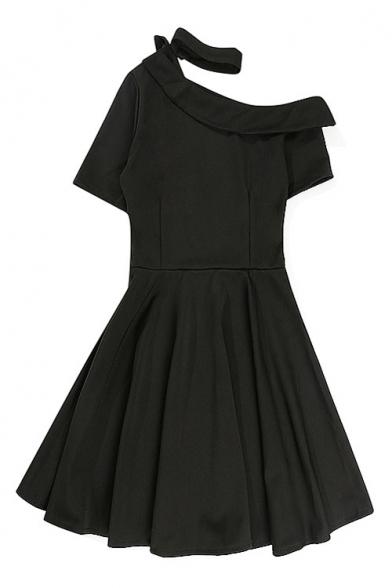 One Shoulder Short Sleeve Plain Mini A-Line Dress