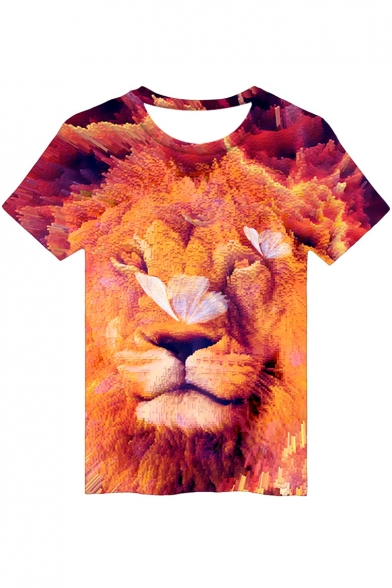 3D Butterfly Lion Printed Round Neck Short Sleeve Tee