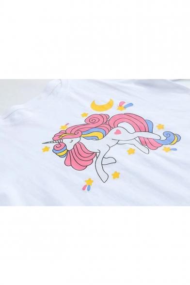 Short Unicorn Fancy Neck Moon Printed Tee Round Sleeve ZFzrgzUqK