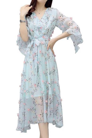 Floral Embellished V Neck Half Sleeve Ruffle Detail Tied Waist Maxi Asymmetric Dress