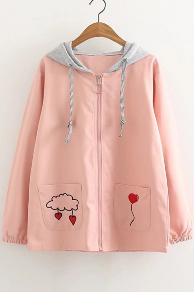 Heart Balloon Embroidered Long Sleeve Zip Up Hooded Coat