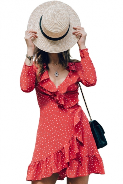 Ruffle Detail V Neck Polka Dot Printed Long Sleeve Mini Asymmetric Hem Dress