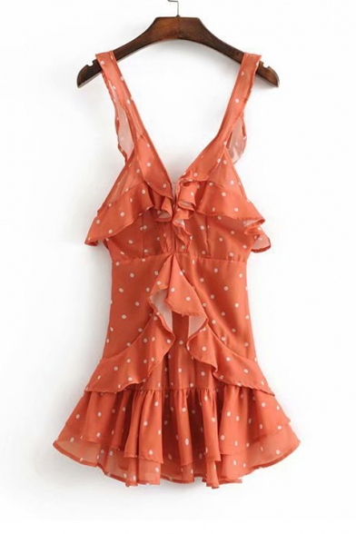 Sexy Plunge Neck Polka Dot Printed Ruffle Detail Sleeveless Mini A-Line Dress