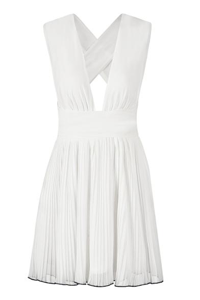 Sexy V Neck Sleeveless Hollow Out Back Mini A-Line Dress