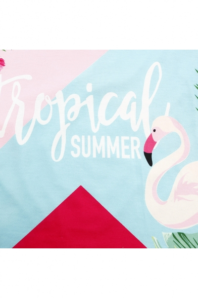 SUMMER Printed Round TROPICAL Sleeve Flamingo Short Letter Neck Tee RdwZnqZtvI