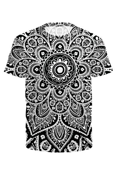 Sleeve Tee Neck Short Printed Round Tribal 3D 6wXqvv