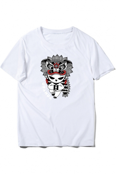 Beijing Round Short Neck Opera Tee Panda Letter Printed Sleeve FwFOrq7