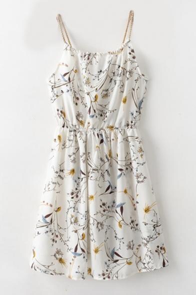 Spaghetti Floral Braid Front Straps Cami Dress Drawstring Sleeveless Mini Printed EwXfqCX