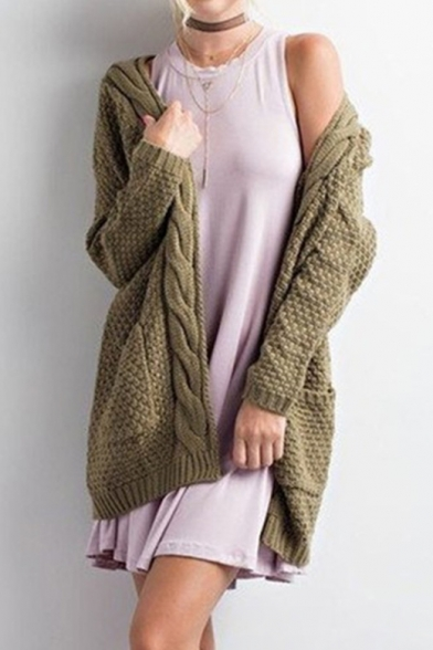 Long Cable Collarless Knit Cardigan Plain Sleeve Tunic P66S8w