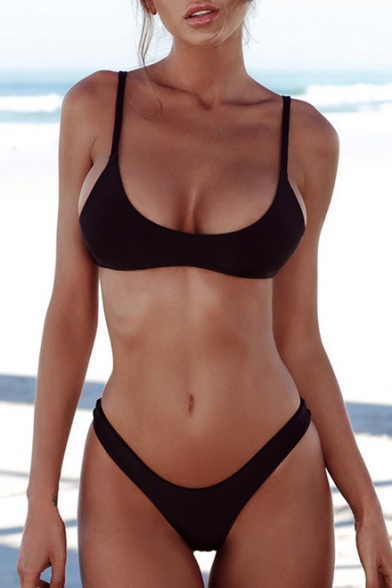 Chic Simple Basic Spaghetti Straps Sleeveless Plain Bikini