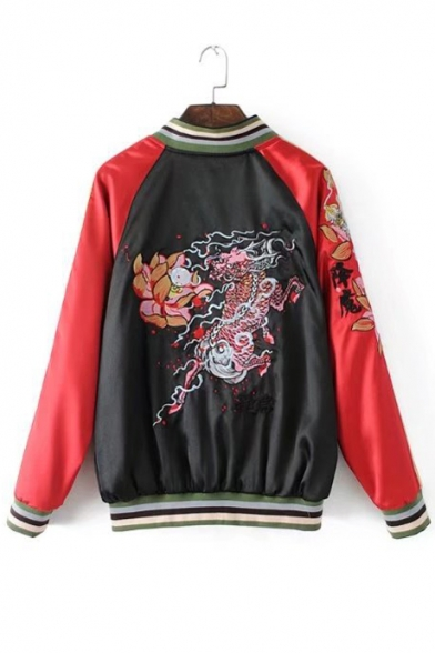 Color Block Floral Dragon Embroidered Stand Up Collar Long Sleeve Zip Up Reversible Baseball Jacket