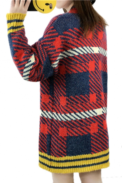 Block Long Tunic Color Down Buttons Cardigans Geometric Sleeve Printed dwUdfqOWX