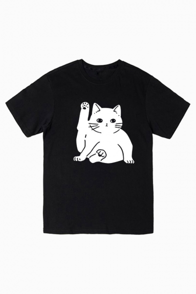 Cute Cat Printed Round Neck Short Sleeve Unisex Tee