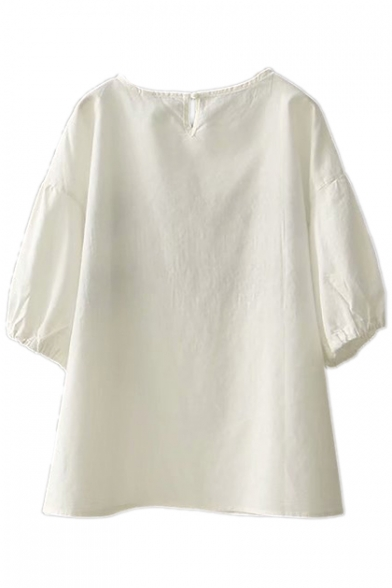 Short Sleeve Floral Neck Linen Round Tee Embroidered qRttZT