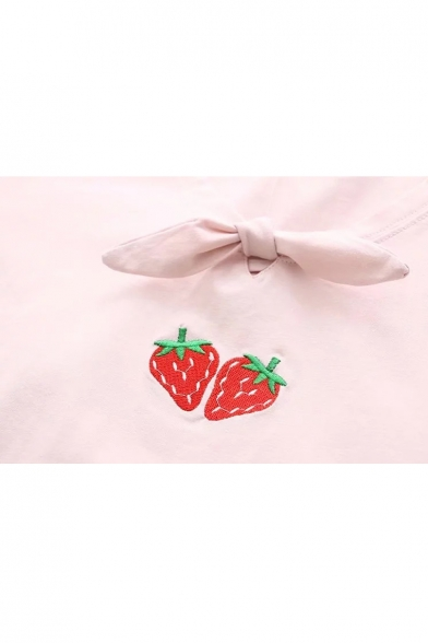 Embroidered Sleeve Tee Strawberry Knotted Front Short 1qwggBE